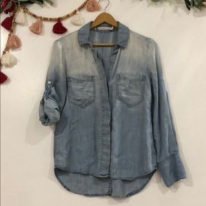 Chelsea & Violet Chambray Button Down Top X-Small